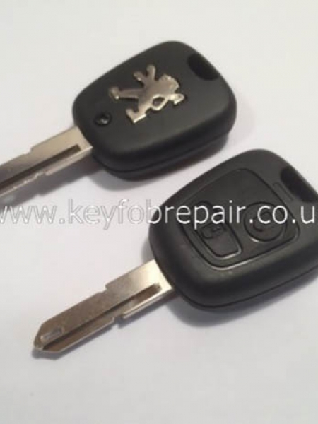 Peugeot 2 Button Key Case With Blank NE17 Keyblade 206-307-406 Etc