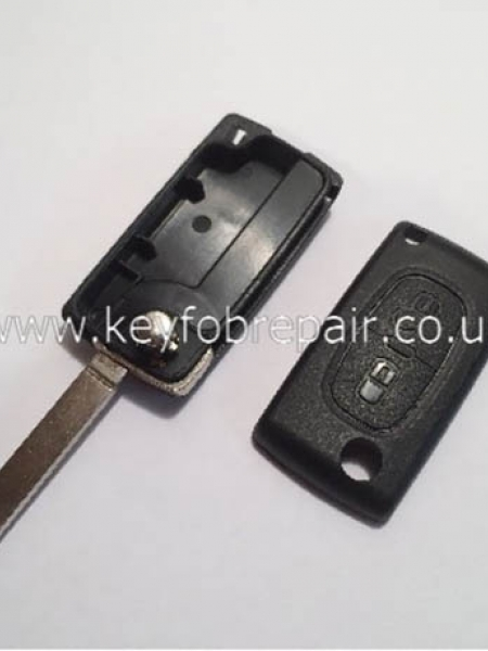 Peugeot 2 Button Flip Case No Battery Place VA2 Blade (No Groove) Also Fits Citroen
